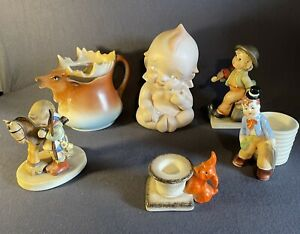 lot of 6 porcelain figures 3 Hummel(1 repaired)-Bavaria moose creamer(crack)
