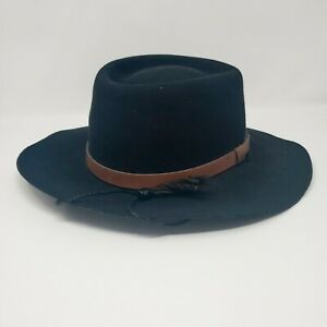 New York Hat Company Outdoor Hat w/ string Black leather band wool felt X-Large