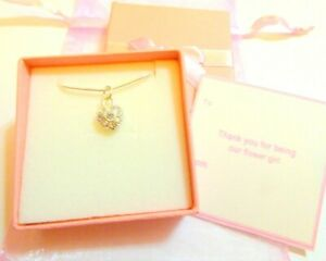 Clear AB Crystal Heart Necklaces Flower Girl Bridesmaid Gift Favour +Tag Box Bag