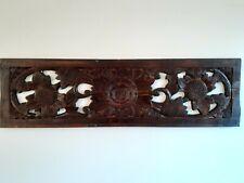 Balinese art dark brown wood hand carved wall art decor bed board