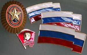 badges Russian lot of five.1 gold stars and  1 Lenin  3  flags  cold enamelled