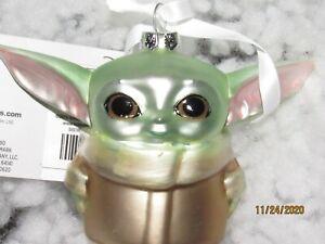 Glass Christmas ornament, baby Yoda.