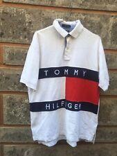 Vintage Tommy Hilfiger Big logo Flag White Polo Shirt Size M