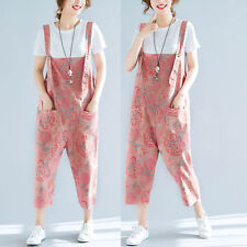 2018 Summer Pink Cotton Linen Casual Jumpsuit Dungaree Overalls Cropped Trousers