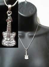 Music Love Pendant Chain Necklace Silver Crystal Guitar Electric Instrument