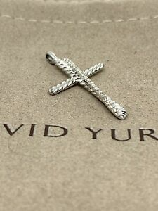 David Yurman Diamond Cross Crossover Pendant Silver 14k White