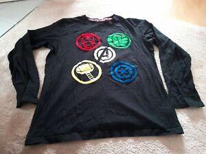 Boys pyjama top age 13 - 14 years Marvel Comics long sleeved black PJ Top