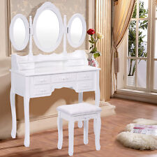 Shabby Chic Dressing Table Vanity Makeup Desk W/ 7 Drawers, 3 Mirrors And Stool