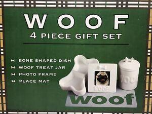 4 Piece PET Gift Set Bone Shaped Dish, Treat Jar, Photo Frame, Place Mat - White