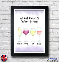 A3 Personalised Best Friends Wine Family Framed Alcohol Drink Print Great Gift