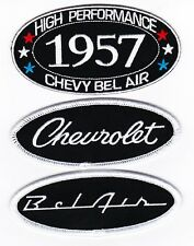 1957 CHEVY BEL AIR SEW/IRON ON PATCH BADGE EMBLEM EMBROIDERED SPORT COUPE V8