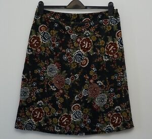 East skirt size 14 grey floral needlecord cord flowers A line orange brown