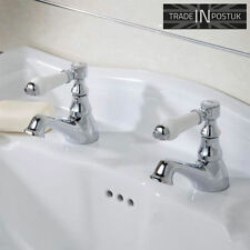 Bloomsbury | Traditional Style Ceramic Lever Basin Sink Taps Pair Chrome