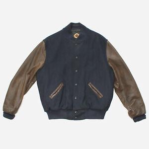 Vintage Dehen 1920 Dark Navy Pendelton Wool & Brown Leather Varsity Jacket sz L
