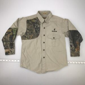 Browning Boys Hunting Shirt Brown Shooting Patch Mossy Oak Pocket Youth Small