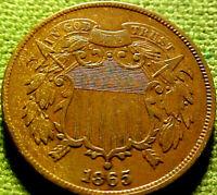 1865 Two Cent Piece 2c ~ REGULAR 5 ~ NlCER HlGHER GRADE w/ SOLID DETAILS ~ 82BF