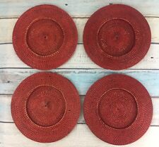"""Wicker Basket Charger Plate 4 Red Round Set 13"""" Table Decor Serving Christmas"""