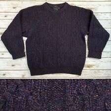 Vintage Abercrombie & Fitch Mens XL Purple Wool Hand Frame Knit Pullover Sweater