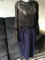 PaperDolls London 2in1 Black and Navy Lace Midi Dress - Size 22