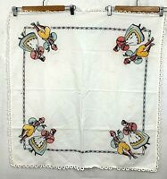 Vtgf Hand Embroidered Table Cloth Linen Textile Lace Trim Couple Dance Colonial