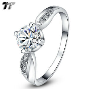 T&T RHODIUM 925 Sterling Silver 1 Carat Engagement Wedding Ring (RW34)