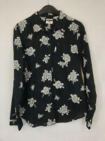 Levis ladies shirt collared tailored fit floral black cotton size L 003