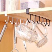 LN_ EE_ Under Shelf Cup Mug Holder Hanger Coffee Kitchen Storage Rack Cupboard