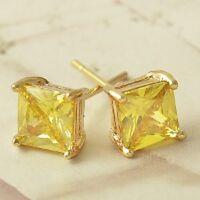 Pendenti Zirconi Principessa Colore Giallo Con Oro Giallo 18 KT Gold Filled