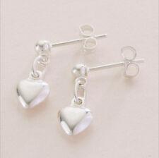 Sterling silver heart shaped drop earrings. New!