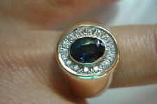 Huge gift~men 14k gold diamond untreated sapphire halo ring Size 9.5~Free Sh~Bin