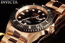 Invicta Pro Diver Quartz Black Dial Diamond Accent Bezel Rose Gold Watch 23476