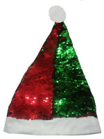 Flip Sequin Red Green Santa Claus Christmas Holiday Hat Color Changing Accessory