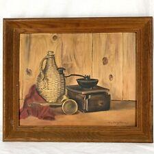 "Original Still Life Oil Painting Vintage Framed Mary Vournazos 23.5"" x 19.5"""