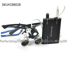 Black Dental Surgical Medical Binocular Loupes 2.5X 320mm+LED Head Light Lamp A+