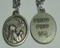 """NEW Vintage-Look St Margaret Mary Alacoque Sacred Heart Holy Medal on 24"""" Chain"""