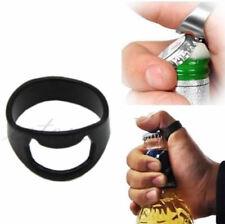 RING Beer Bottle Opener Stainless Steel Metal Finger Thumb Keyring 24mm Black