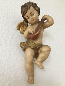 alter Engel mit Laute Putte aus Holz Wandengel geschnitzt bemalt 20 cm