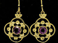 E051 Genuine 9ct Yellow or Rose Gold Natural Amethyst & Diamond Clover Earrings