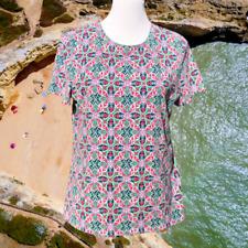 Talbots Womens Top T-Shirt  L Short Sleeve Pullover Stretch Casual Geometric