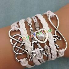 NEW Infinity LOVE Heart Eiffel Tower Friendship Leather Charm Bracelet Silver