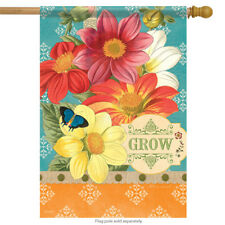 "Garden Grow Floral Spring House Flag Decorative Flower 28""x40"""