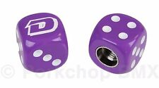 "Dyno ""D"" logo old school BMX bicycle tire Schrader valve DICE caps (PAIR) PURPLE"