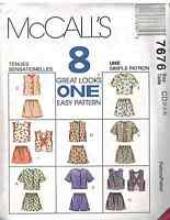 7676 Vintage McCalls SEWING Pattern Girls Tops & Shorts UNCUT OOP SEW