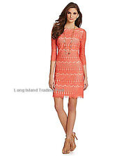 Jessica Howard Elegant Coral Lace Formal Shift Dress Wedding Guest Cocktails 14