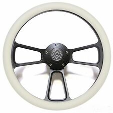 Black and Off White VW Volkswagen Steering Wheel - with Engraved VW Horn Button