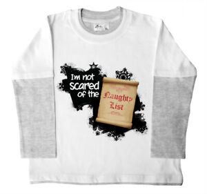 "SALE ITEM LS Skater Top White/Grey ""Not Scared of the Naughty List"" 10-11 Years"