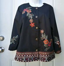 Norm Thompson Womens Black L Large Jacket Blazer Floral Embroidered NWT
