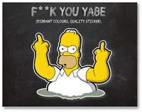 Homer Simpson Rude Middle Finger Sticker Skateboard PS4 Luggage Decal Vinyl #4A