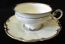"""Hutschenreuther Revere Pasco Footed Cup Saucer Set White Platinum Trim 2 1/2"""""""