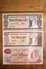 Set of 3 different Guyana paper money 1, 10 and 20 Dollars AU-Uncirculated